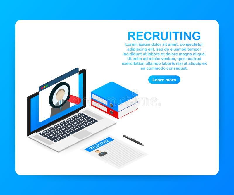 Concepto del reclutamiento Contrate a los trabajadores, los patrones bien escogidos buscan al equipo para el trabajo Icono del cu ilustración del vector