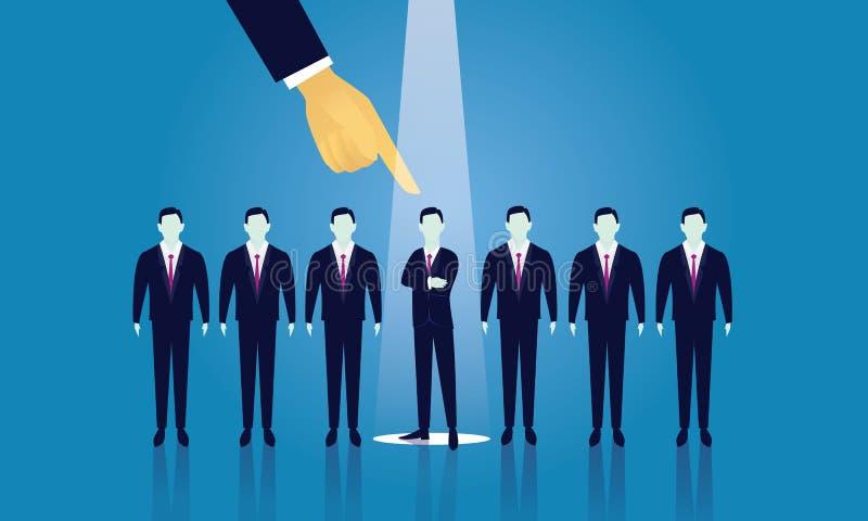 Concepto del reclutamiento del negocio que selecciona al hombre de negocios ilustración del vector