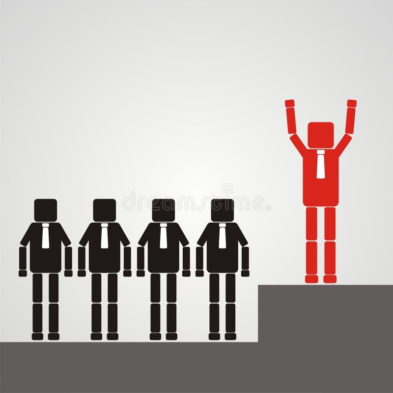 Concepto del reclutamiento Un trabajador con una cabeza cuadrada aumenta su mano libre illustration