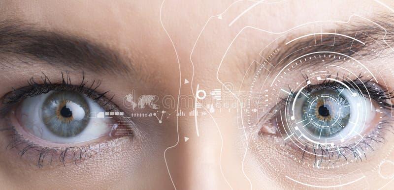 Concepto del reconocimiento del iris Ordenador ojo-compatible usable fotografía de archivo