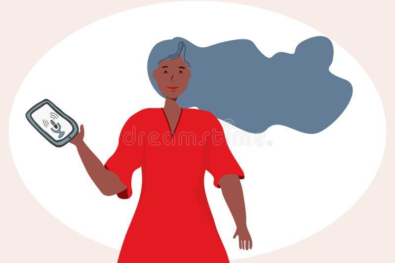 Concepto del reconocimiento vocal con una muchacha en vestido rojo libre illustration