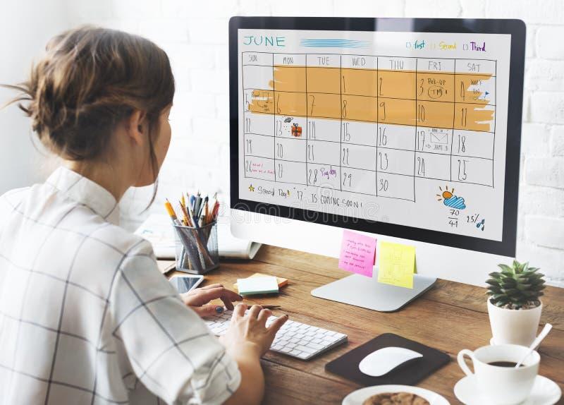 Concepto del recordatorio de la reunión del calendario del orden del día de Appoinement fotos de archivo libres de regalías