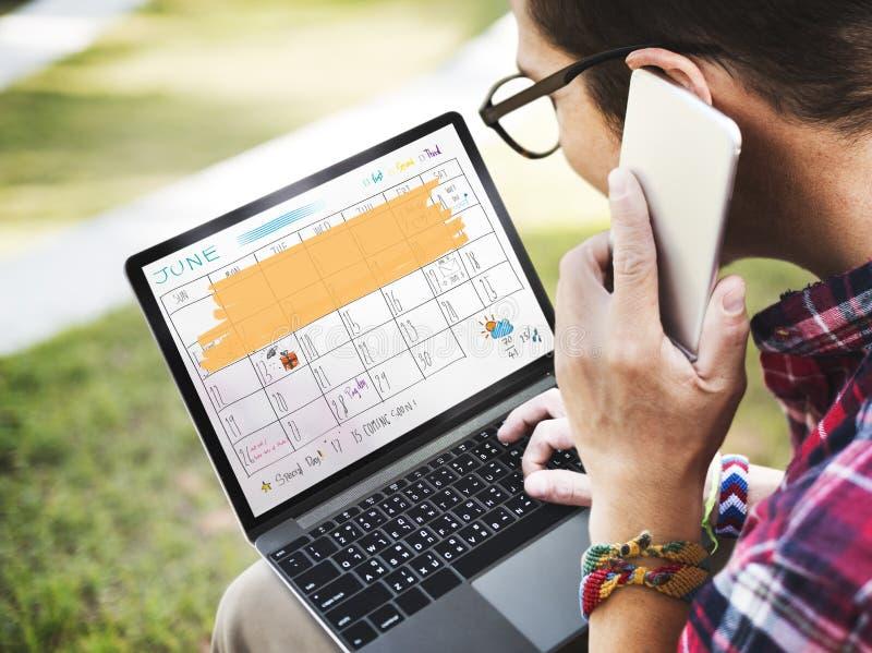 Concepto del recordatorio de la reunión del calendario del orden del día de Appointement imagen de archivo libre de regalías