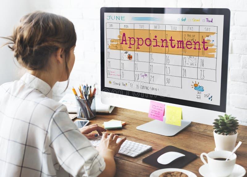 Concepto del recordatorio de la reunión del calendario del orden del día de Appointement imagen de archivo