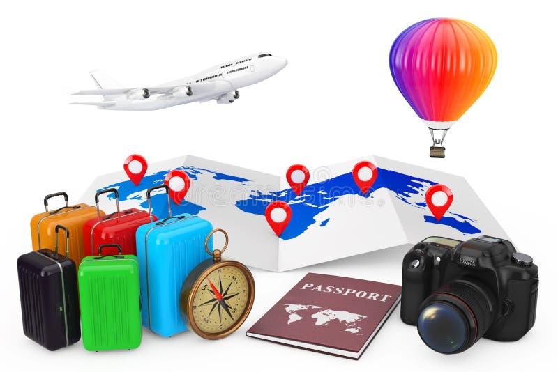 concepto del recorrido Aeroplano con el globo del aire caliente sobre ingenio del mapa del mundo ilustración del vector