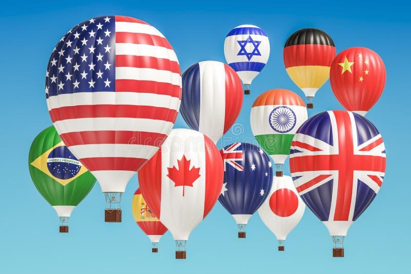 concepto del recorrido El aire caliente hincha con diversas banderas del countri imágenes de archivo libres de regalías