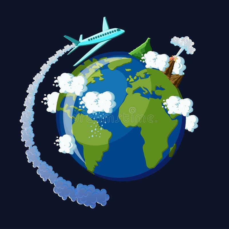 Concepto del recorrido en todo el mundo El aeroplano con la cola del vapor vuela alrededor de la tierra del planeta libre illustration