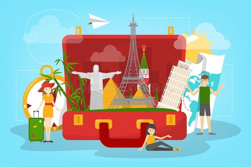 concepto del recorrido Idea del turismo en todo el mundo Vacaciones libre illustration