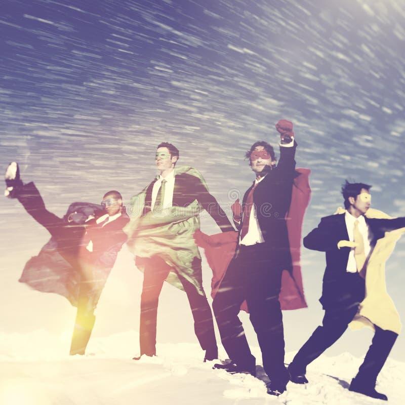 Concepto del rescate de la nieve del invierno de Superheros del negocio imágenes de archivo libres de regalías