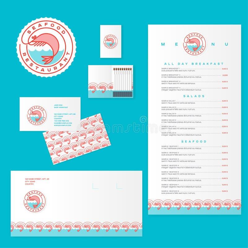 Concepto del restaurante de los mariscos Logotipo e identidad de los productos de los mariscos stock de ilustración