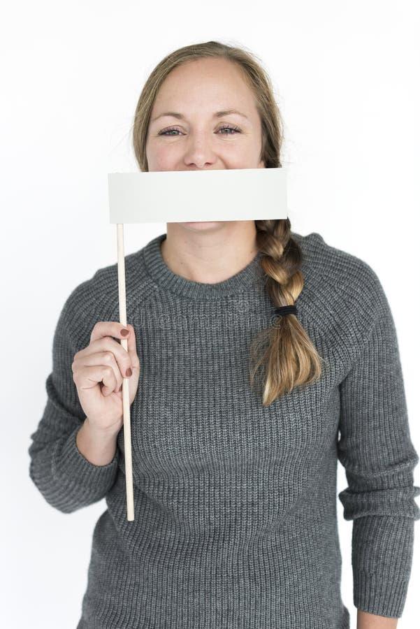 Concepto del retrato de la boca de la cubierta de la mujer foto de archivo