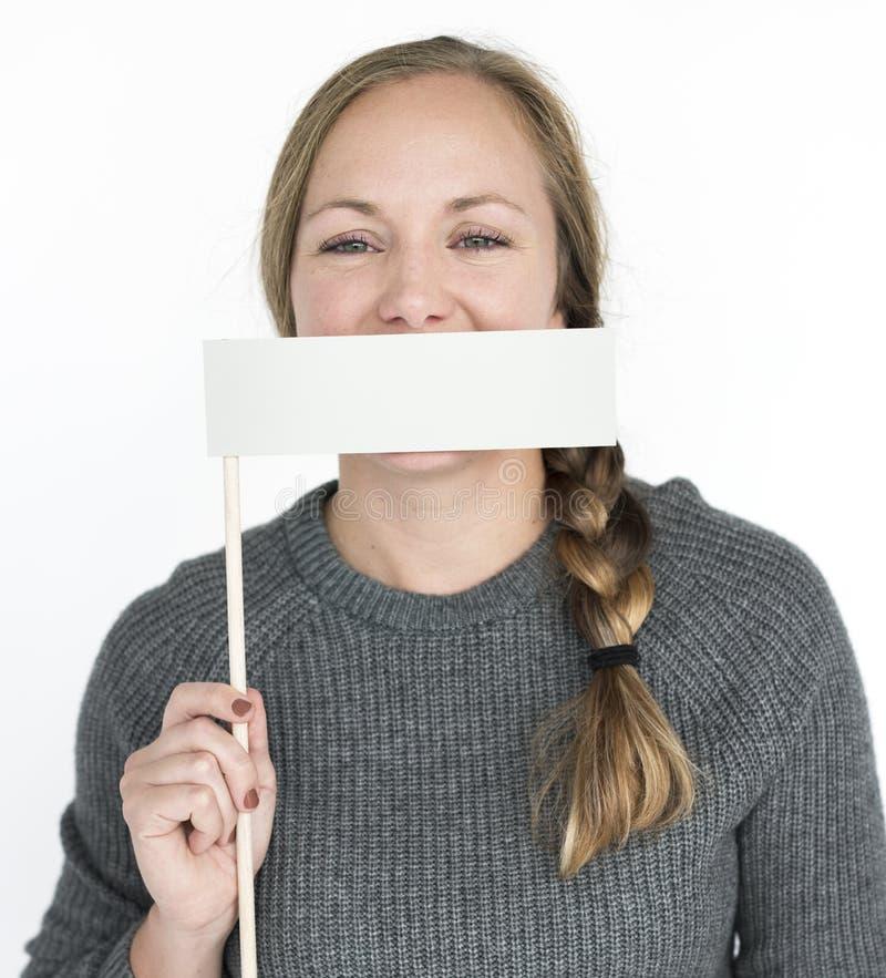 Concepto del retrato de la boca de la cubierta de la mujer fotos de archivo