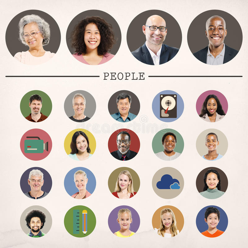 Concepto del retrato de la comunidad de la diversidad de la gente de las caras libre illustration