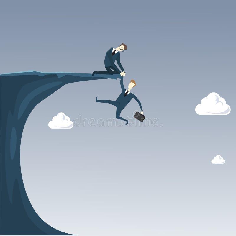 Concepto del riesgo de Holding Hands Hanging Cliff Partner Support Business People del hombre de negocios ilustración del vector