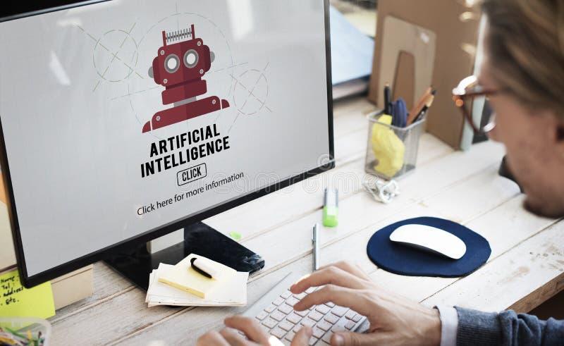 Concepto del robot de la máquina de la automatización de la inteligencia artificial