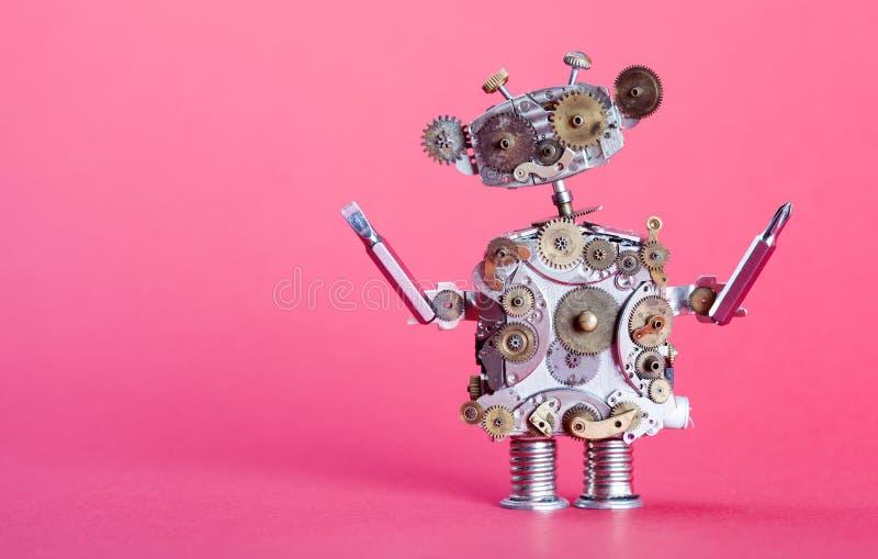 Concepto del robot del servicio de Steampunk Repare al hombre con los conductores del tornillo Los engranajes envejecidos, reloj  imagen de archivo libre de regalías