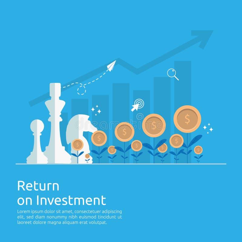 Concepto del ROI de la rentabilidad de la inversión flechas del crecimiento del negocio al beneficio del aumento del éxito Finanz ilustración del vector