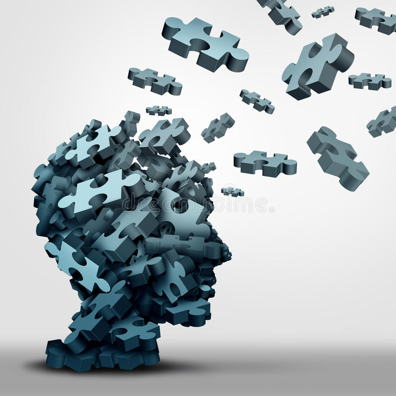 Concepto del rompecabezas de la demencia ilustración del vector