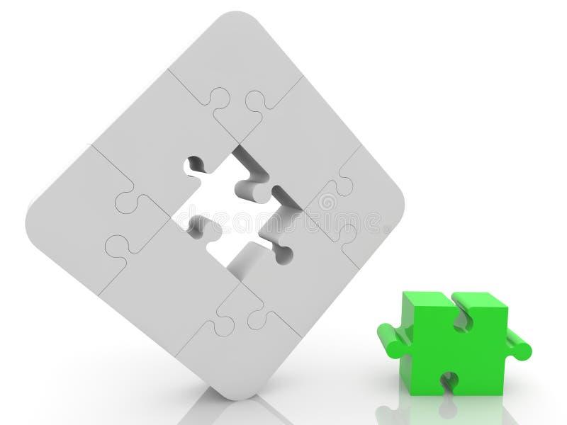 Concepto del rompecabezas en blanco y verde ilustración del vector