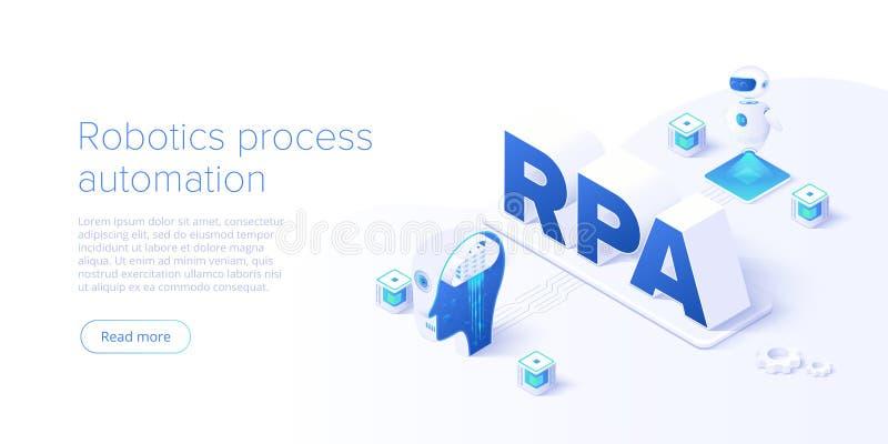 Concepto del RPA en el ejemplo isométrico del vector Fondo de la automatización de proceso de la robótica con los robots del soft stock de ilustración