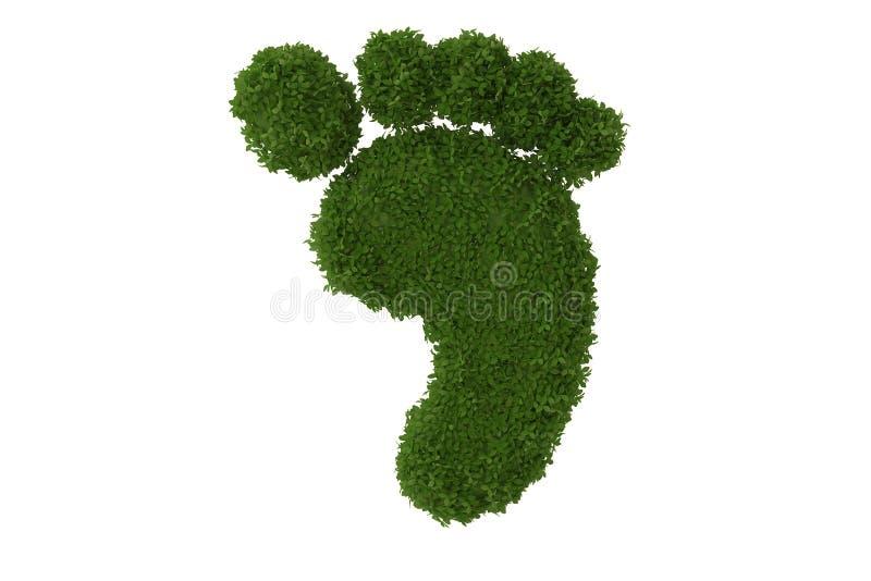 Concepto del símbolo de la huella de hojas verdes ilustración 3D stock de ilustración