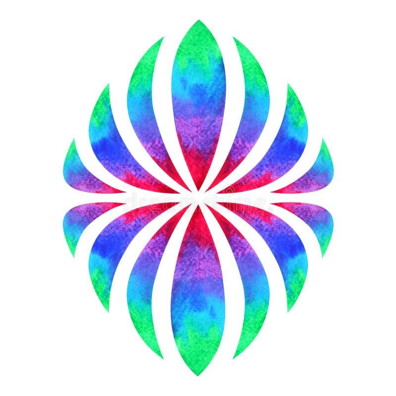Concepto del símbolo de la mandala del chakra del color, icono de la pintura de la acuarela, dibujo de la mano de la muestra del  imagen de archivo libre de regalías