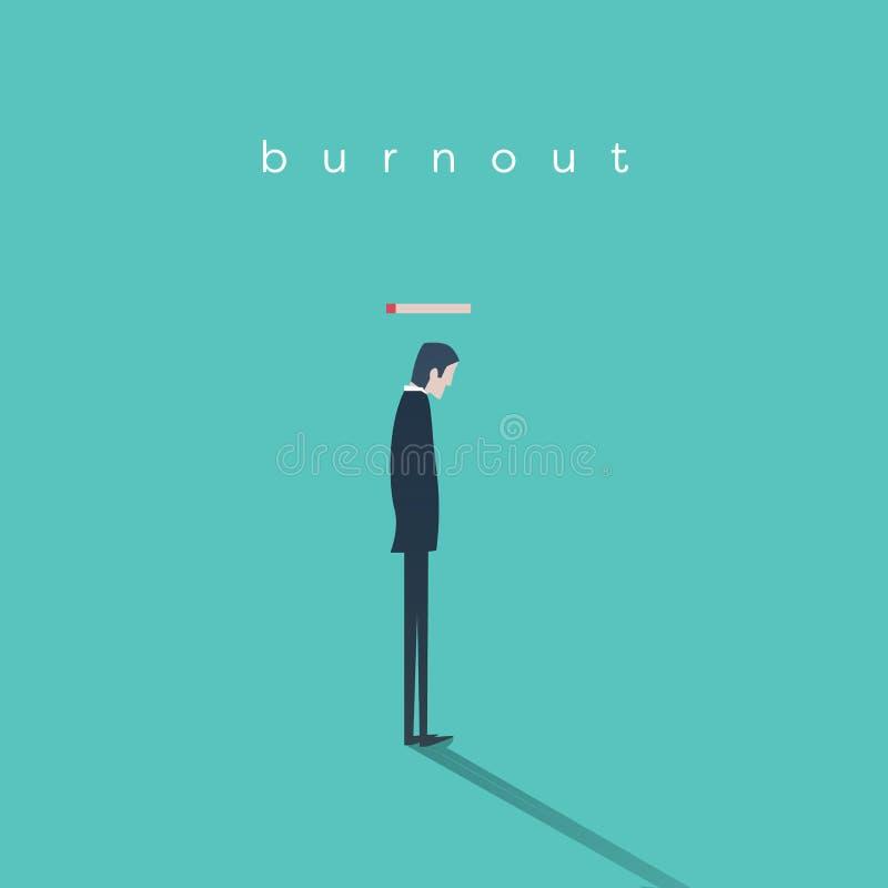 Concepto del síndrome de la quemadura con un hombre de negocios sin energía en el trabajo Extracto del vector del negocio stock de ilustración