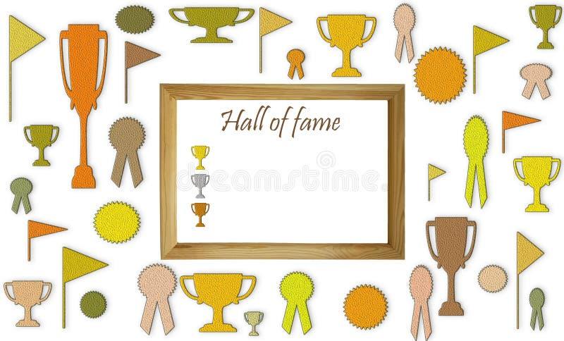 Concepto del salón de la fama con el espacio en blanco libre de la copia Tazas, medallas e insignias con el espacio blanco en la  foto de archivo