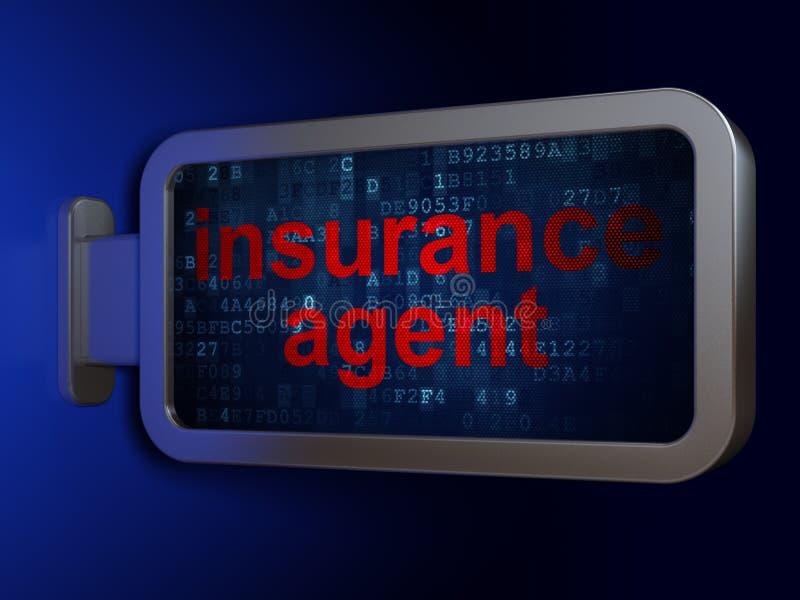 Concepto del seguro: Agente de seguro en fondo de la cartelera libre illustration