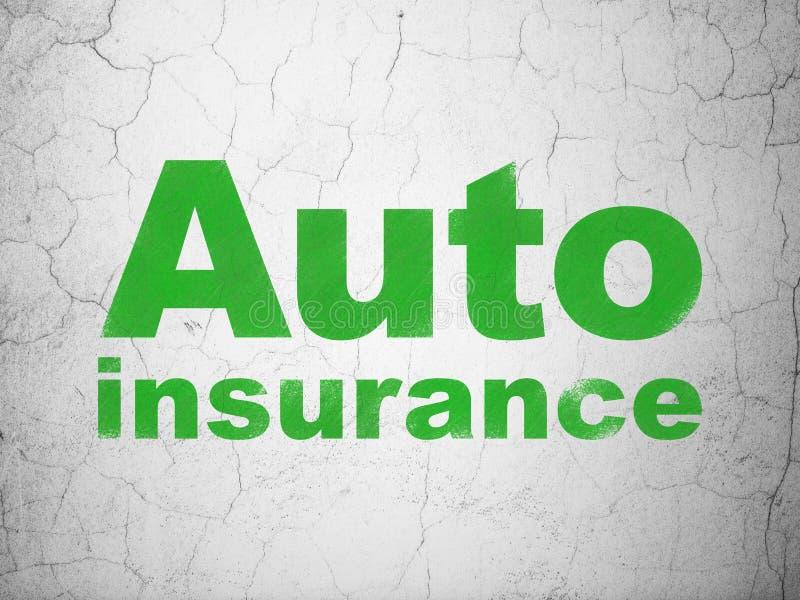 Concepto del seguro: Seguro auto en fondo de la pared ilustración del vector
