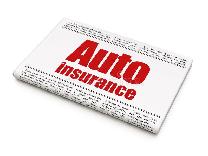 Concepto del seguro: seguro auto del título de periódico ilustración del vector