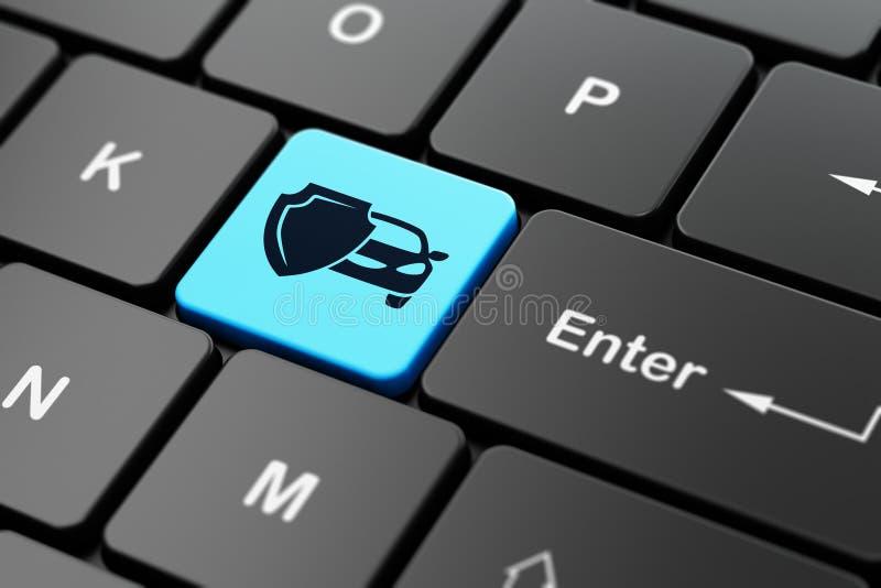 Concepto del seguro: Coche y escudo en fondo del teclado de ordenador ilustración del vector