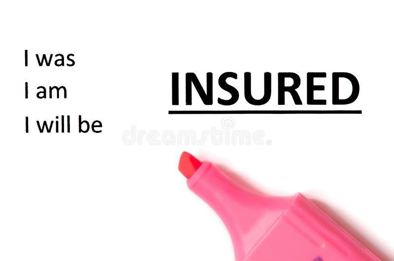 Concepto del seguro con el marcador foto de archivo libre de regalías