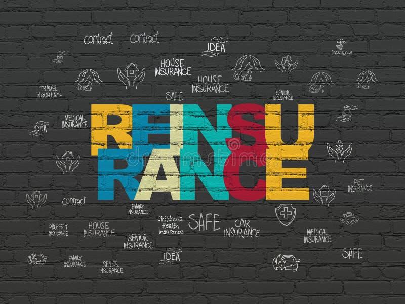 Concepto del seguro: Reaseguro en fondo de la pared stock de ilustración