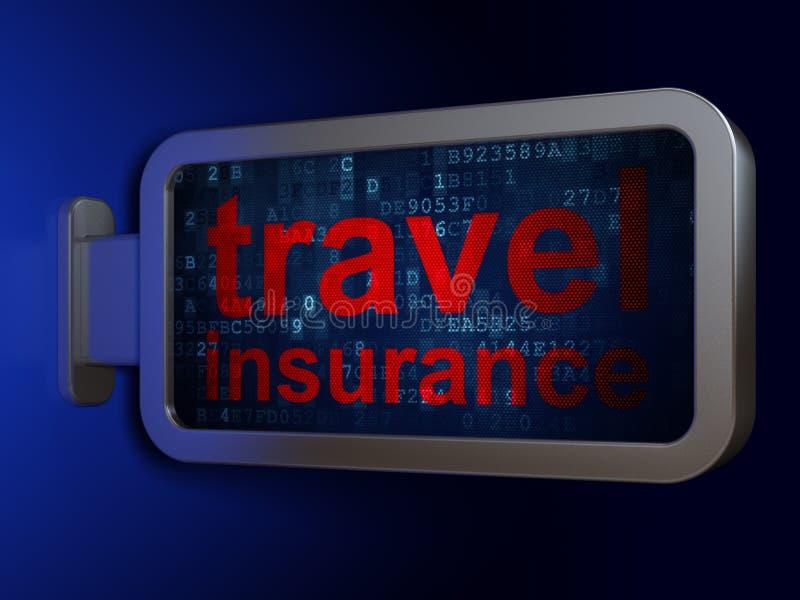Concepto del seguro: Seguro del viaje en fondo de la cartelera libre illustration