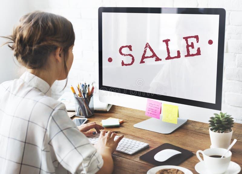 Concepto del sello del descuento de las compras de la promoción de venta fotografía de archivo libre de regalías