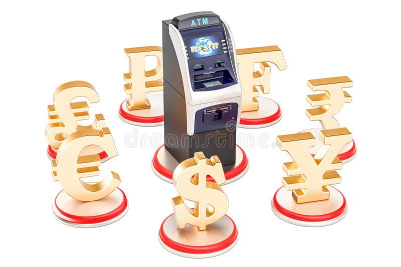 Concepto del servicio bancario, símbolos de moneda alrededor de la atmósfera ilustración del vector