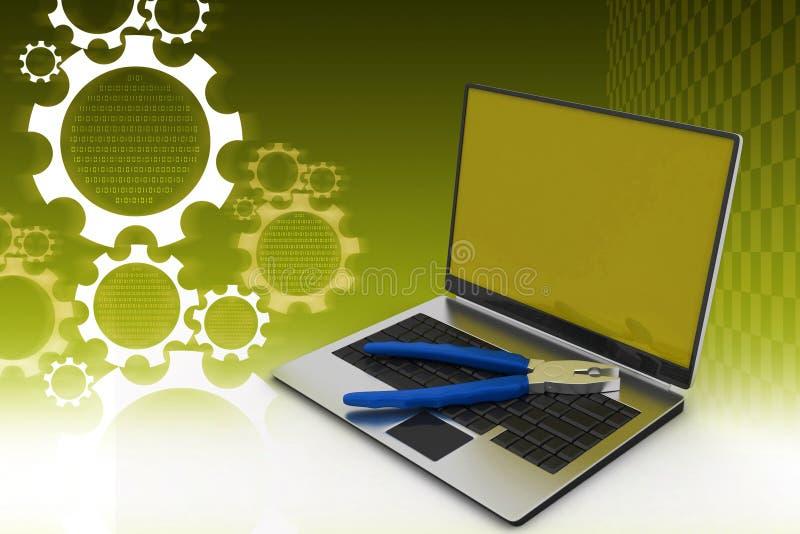 Concepto del servicio de reparación del ordenador stock de ilustración
