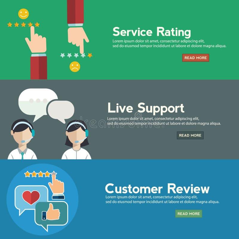 Concepto del servicio del cuidado del cliente empresa, valorando en el servicio de atención al cliente y el sistema plano de la b libre illustration