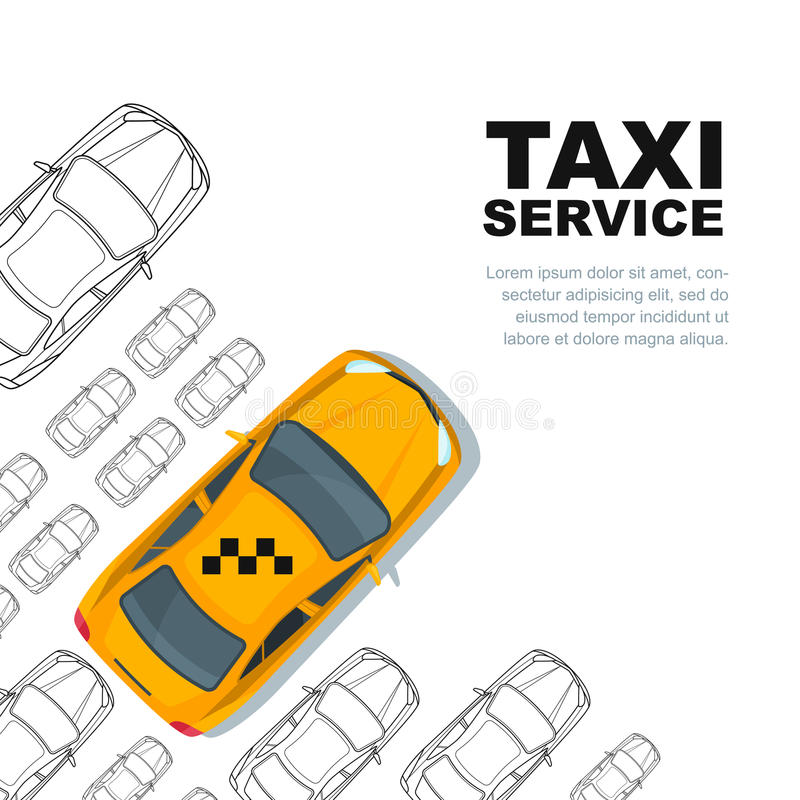 Concepto del servicio del taxi Vector la plantilla del fondo de la bandera, del cartel o del aviador ilustración del vector