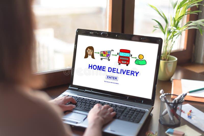Concepto del servicio a domicilio en una pantalla del ordenador portátil foto de archivo