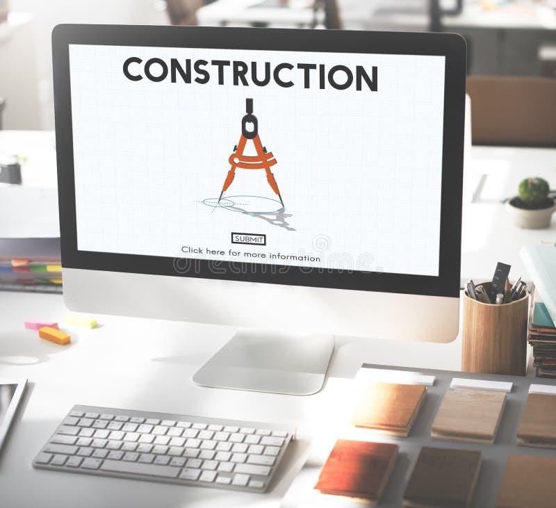 Concepto del sitio del casco del casco de protección de la arquitectura de la construcción imagen de archivo libre de regalías