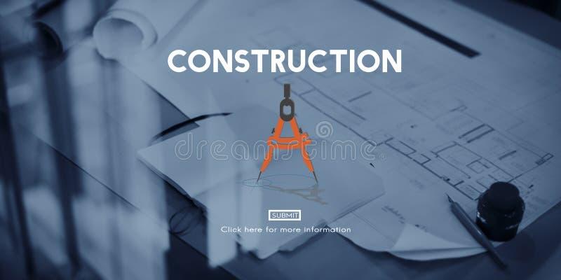 Concepto del sitio del casco del casco de protección de la arquitectura de la construcción imagenes de archivo
