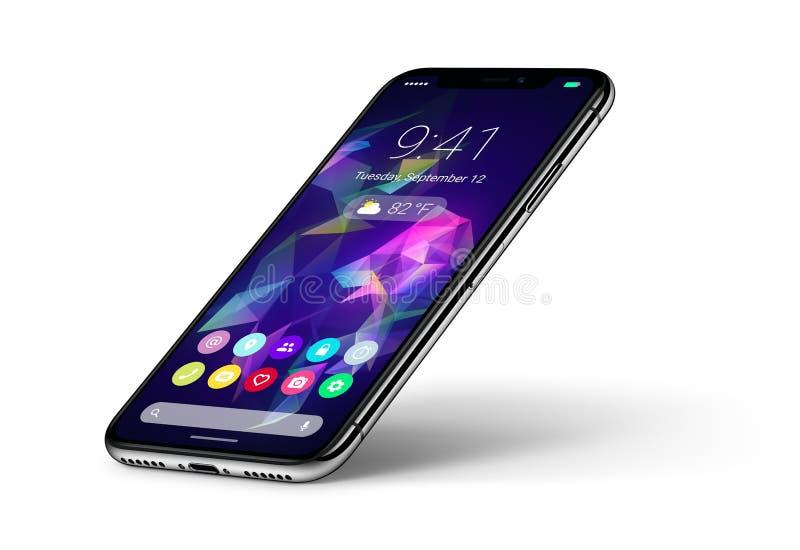 Concepto del smartphone del veiw de la perspectiva con el interfaz plano del diseño material UI con la sombra stock de ilustración
