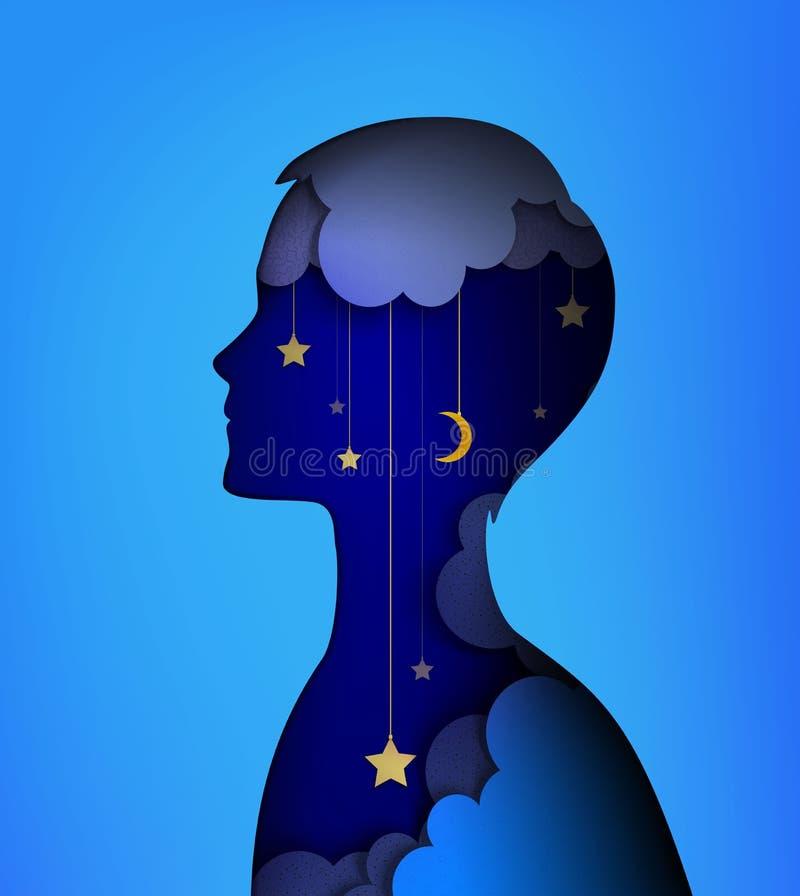 Concepto del soñador, imagen de las capas, silueta joven del muchacho con el interior del cielo nocturno, idea ideal de la noche, stock de ilustración