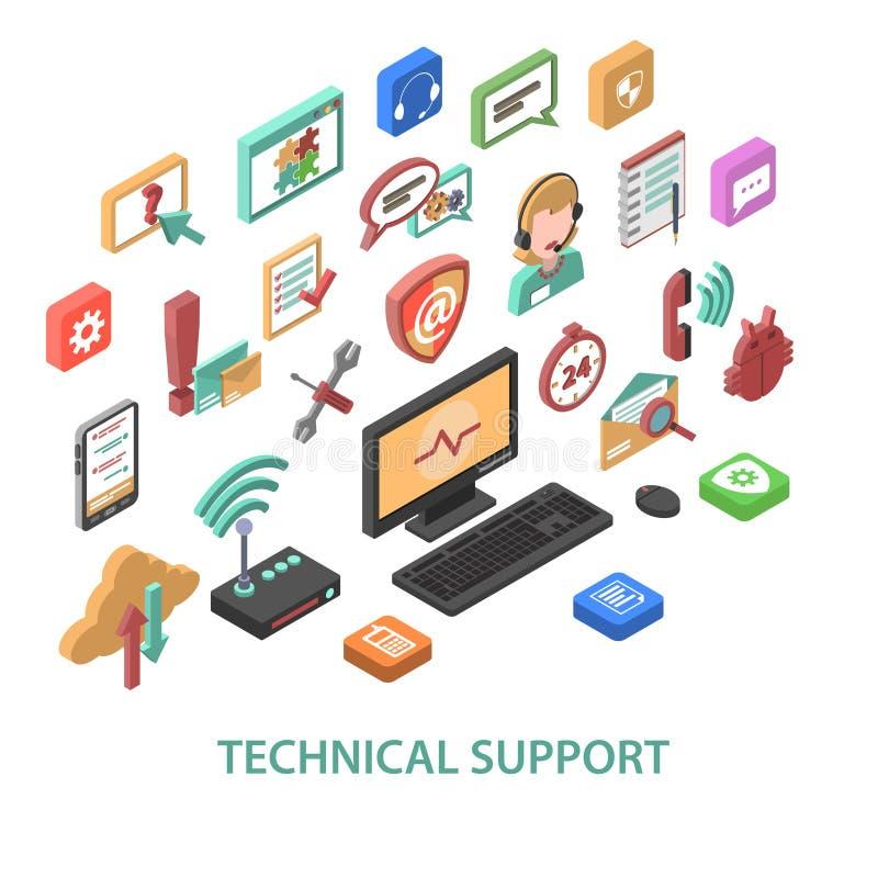 Concepto del soporte técnico stock de ilustración