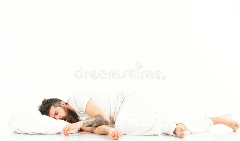 Concepto del sueño profundo Hombre con la barba y el bigote imagen de archivo