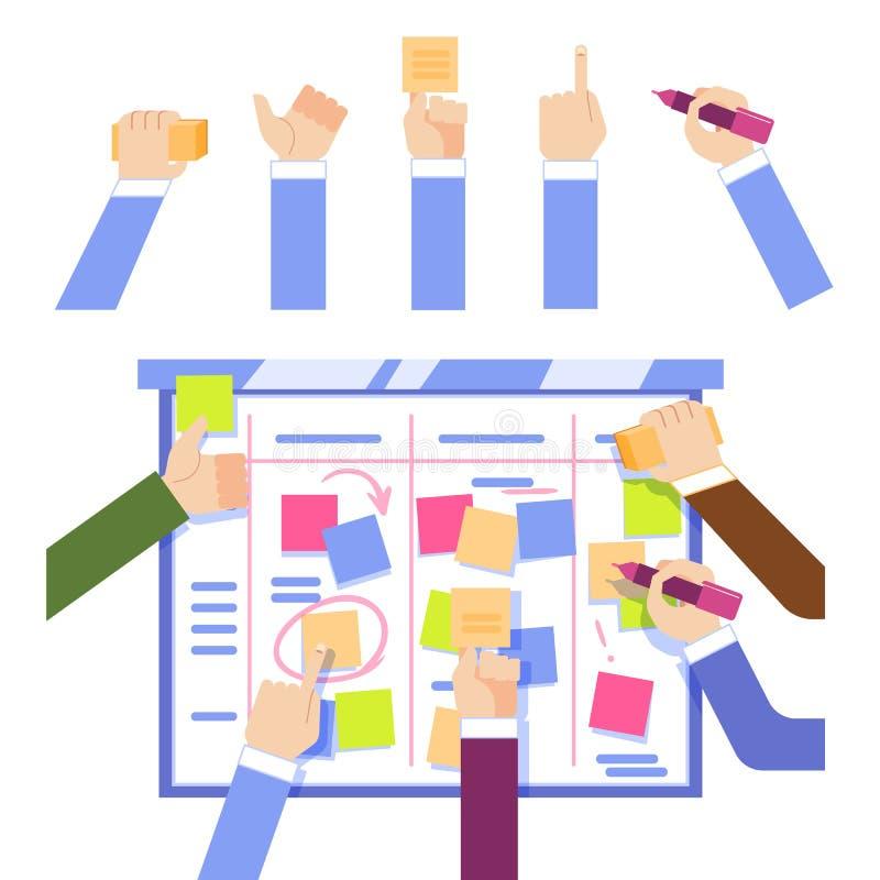 Concepto del tablero de la tarea del melé con las manos humanas que pegan los papeles coloridos y que escriben a bordo ilustración del vector