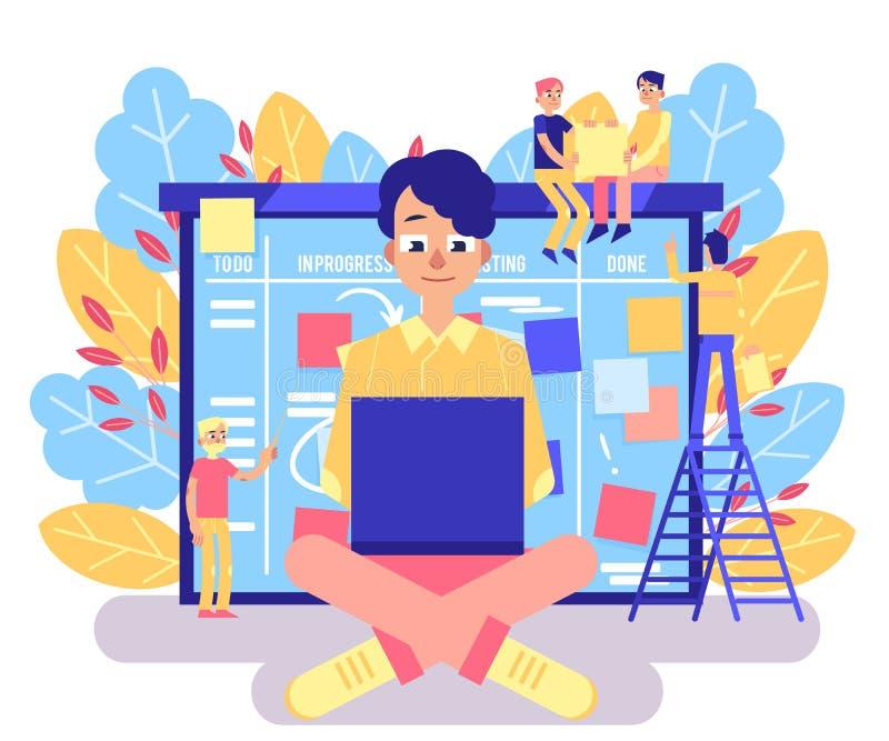 Concepto del tablero del melé con el hombre joven que trabaja con el ordenador portátil contra organizador ágil grande con los pa libre illustration