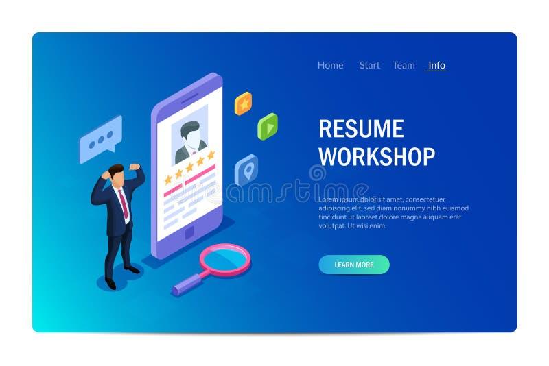 Concepto del taller del curriculum vitae con los caracteres Web site del dise?o Puede utilizar para la bandera del web, infograph stock de ilustración